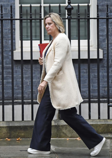 """This Sept. 4, 2019 photo shows Work and Pensions Secretary Amber Rudd in London. On Saturday, Sept. 7, 2019, Rudd said she has resigned from Prime Minister Boris Johnson's cabinet because """"I cannot stand by as good, loyal moderate Conservatives are expelled."""" (Victoria Jones/PA via AP)"""