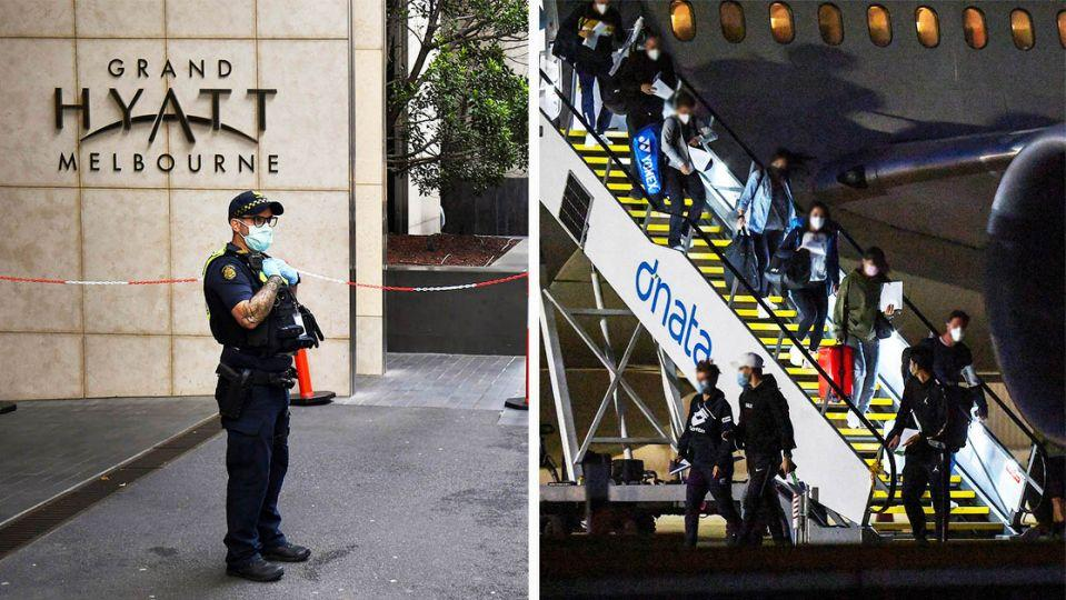 Players and team members arrive off a plane (pictured right) ahead of the Australian Open and a policeman (pictured left) standing outside a hotel before players arrive. (Getty Images)
