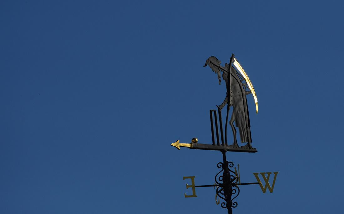 LONDON, ENGLAND - JULY 19: The Old Father Time weather vane during day two of the 2nd Investec Ashes Test match between England and Australia at Lord's Cricket Ground on July 19, 2013 in London, England.  (Photo by Mike Hewitt/Getty Images)