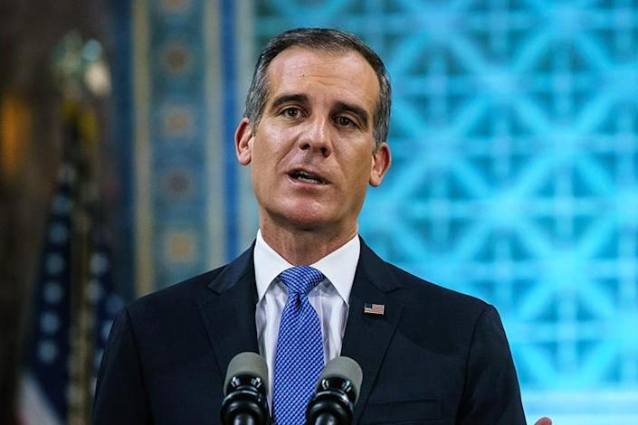 Los Angeles Mayor Eric Garcetti gives his annual State of the City speech in Los Angeles on April 19, 2020.