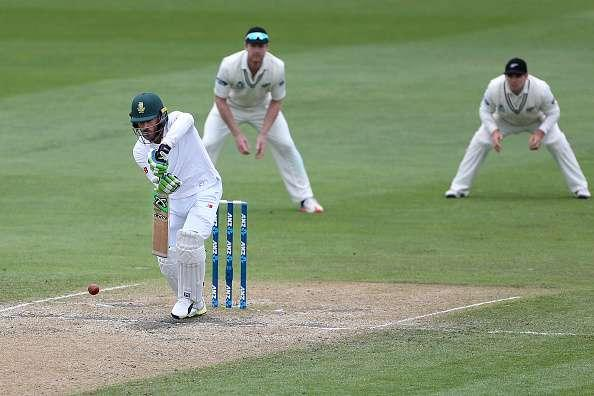 DUNEDIN, NEW ZEALAND - MARCH 11: Faf du Plessis of South Africa bats during day four of the First Test match between New Zealand and South Africa at University Oval on March 11, 2017 in Dunedin, New Zealand. (Photo by Dianne Manson/Getty Images)