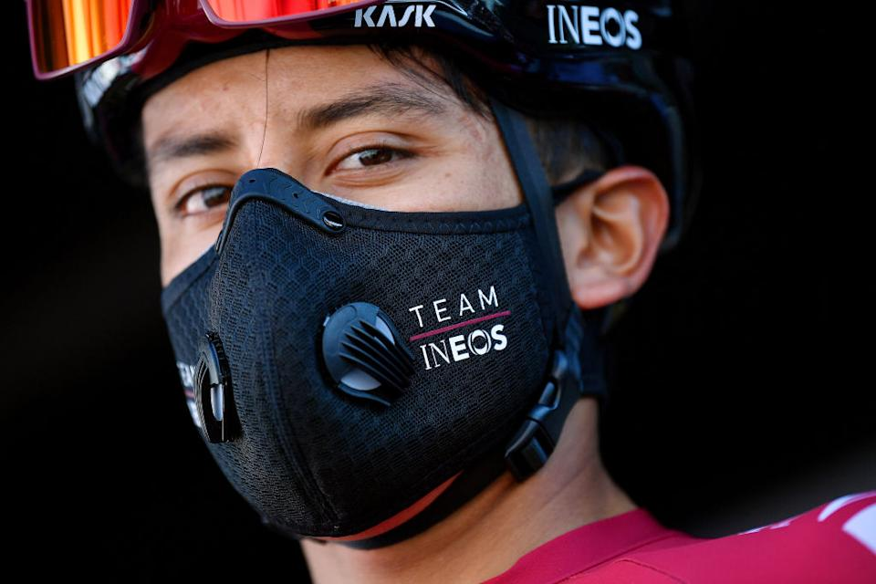 BEZIERS FRANCE  AUGUST 01 Start  Egan Bernal of Colombia and Team Ineos  Mask  Covid Safe measures  during the 44th La Route dOccitanie  La Depeche du Midi 2020 Stage 1 a 187km stage from Saint Affrique to Cazouls ls Bziers  RouteOccitanie  RDO2020  on August 01 2020 in Beziers France Photo by Justin SetterfieldGetty Images