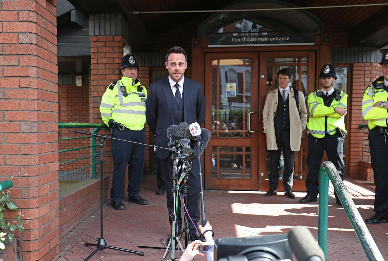 TV presenter Anthony McPartlin speaking outside The Court House in Wimbledon, London, after being fined £86,000 at Wimbledon Magistrates' Court after admitting driving while more than twice the legal alcohol limit.