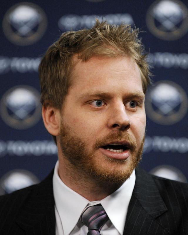 Former Buffalo Sabres captain Steve Ott talks with the media during a news conference after the first period of the Sabres' NHL hockey game against the San Jose Sharks in Buffalo, N.Y., Friday, Feb. 28, 2014. Miller and Steve Ott were traded to the St. Louis Blues on Friday night for goalie Jaroslav Halak, forward Chris Stewart, prospect William Carrier, a 2015 first-round pick and a 2016 third-round pick. (AP Photo/Gary Wiepert)