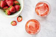 "When we think about the perfect summer cocktails, this one immediately comes to mind. The classic margarita meets muddled fresh summer strawberries and a refreshing splash of dry rosé. Pour it all into a rocks glass and crank up the tunes. <a href=""https://www.epicurious.com/recipes/food/views/the-mose-56389689?mbid=synd_yahoo_rss"" rel=""nofollow noopener"" target=""_blank"" data-ylk=""slk:See recipe."" class=""link rapid-noclick-resp"">See recipe.</a>"
