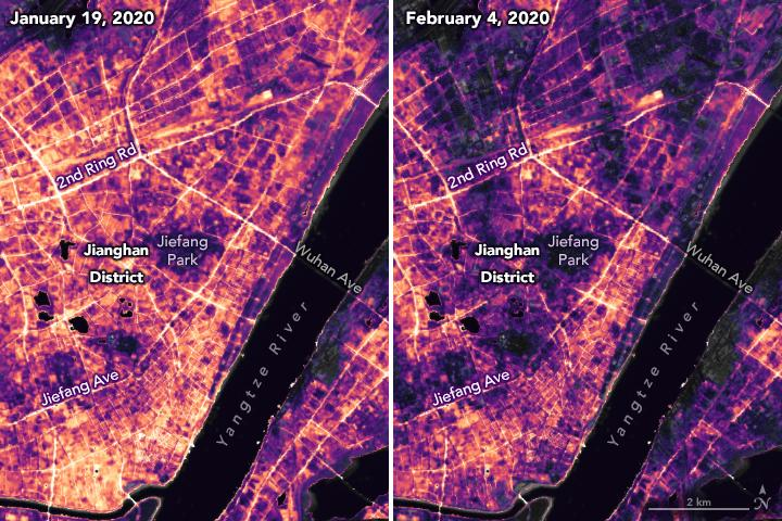 Night lights in Wuhan, China, show the difference in human activity between late January and early February 2020, when the COVID-19 coronavirus spread through the city.