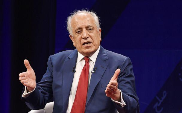 PHOTO: In this file photo taken on April 28, 2019, US special representative for Afghan peace and reconciliation Zalmay Khalilzad speaks during a forum with Afghan director of TOLO news Lotfullah Najafizada, at the Tolo TV station in Kabul, Afghanistan. (Wakil Kohsar/AFP/Getty Images, FILE)