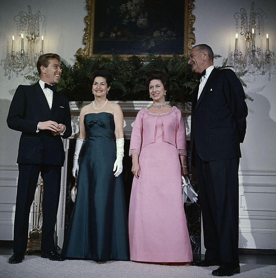 <p>In 1965, Margaret and Antony Armstrong-Jones visited President Lyndon Johnson and Lady Bird Johnson at the White House. The Princess wore a bright pink dress with a matching jacket for the occasion, paired with a stunning necklace. </p>