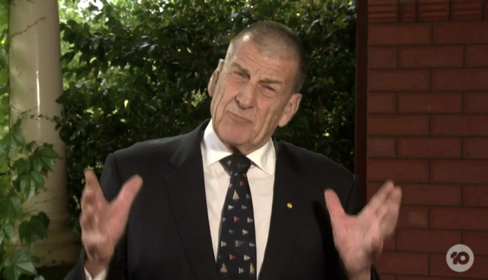 A furious Jeff Kennett unleashed on the show on Sunday. Source: 10