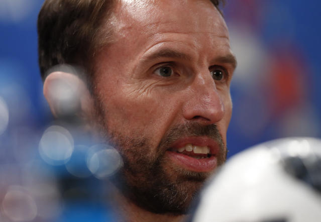 England head coach Gareth Southgate answers a question at a press conference for the 2018 soccer World Cup, at the Volgograd Arena in Volgograd, Russia, Sunday, June 17, 2018. England play Tunisia in a group G match Monday June 18. (AP Photo/Alastair Grant)