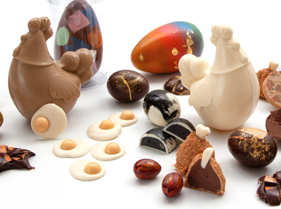 chocolate chickens and fried eggs from Meltdown Artisan's easter 2021 collection