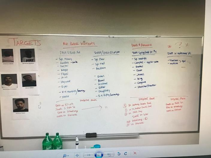 Commonwealth's Attorney Tom Wine shared Louisville Metro Police's whiteboard from the night of Breonna Taylor's fatal shooting, as they planned how to execute a series of search warrants, in a Zoom call with reporters on Friday.