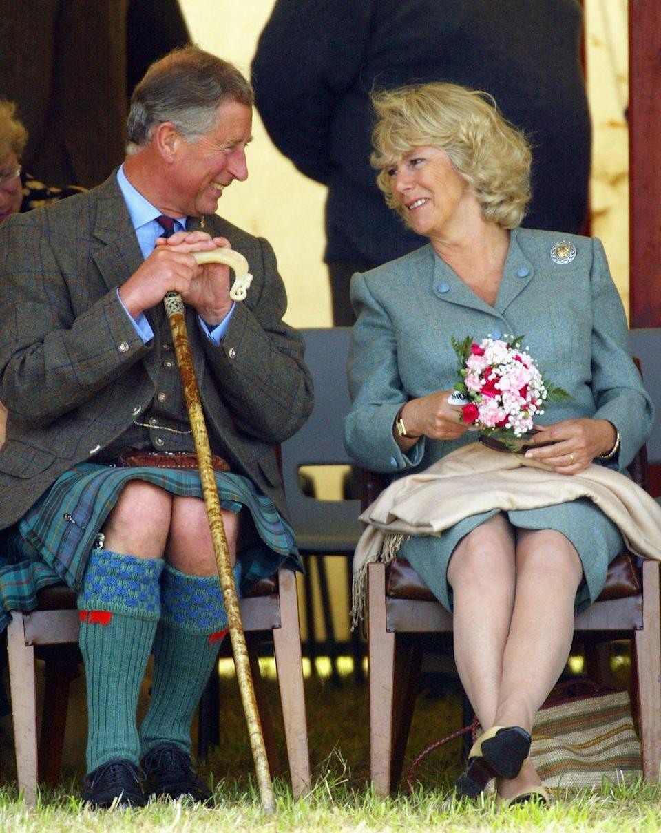 <p>The Prince of Wales and Camilla Parker Bowles enjoy the 2004 Mey Games.</p>