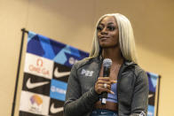 Sha'carri Richardson attends a news conference Friday, Aug. 20, 2021, a day before competing in the 100 meters at the Pre Classic track and field meet in Eugene, Ore. (AP Photo/Thomas Boyd)
