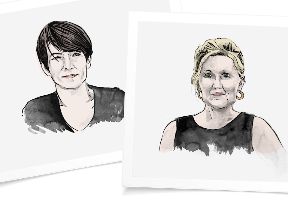 Samantha Paige, left, and Elizabeth Peppas, both chose to explant after having post-mastectomy reconstruction. (Illustrations by Jonathan Crow & Design by Quinn Lemmers for Yahoo Lifestyle)