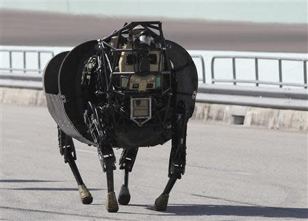 An LS 3 robot demonstrates its movement during a demonstration in Homestead, Florida