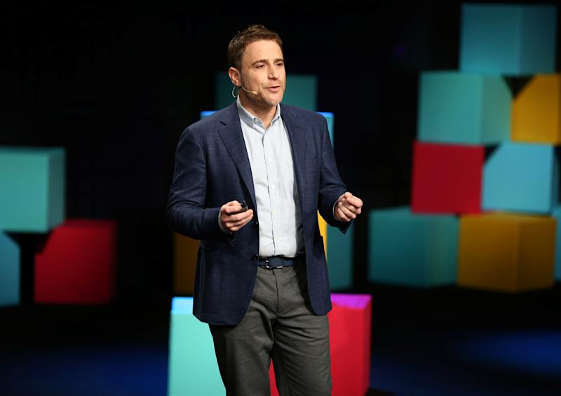 Stewart Butterfield, CEO of Slack, presents during the business messaging company's event in San Francisco, California, U.S. January 31, 2017. REUTERS/Beck Diefenbach