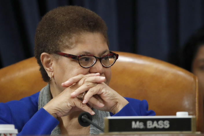 FILE - In this Dec. 12, 2019, file photo, Rep. Karen Bass, D-Calif., listens during a hearing on Capitol Hill in Washington. Bass, a prominent figure in national Democratic politics who was on President Joe Biden's shortlist of candidates when he was considering a vice presidential pick, is planning to run for Los Angeles mayor, a person familiar with her plans said Friday, Sept. 24, 2021. (AP Photo/Alex Brandon, File)