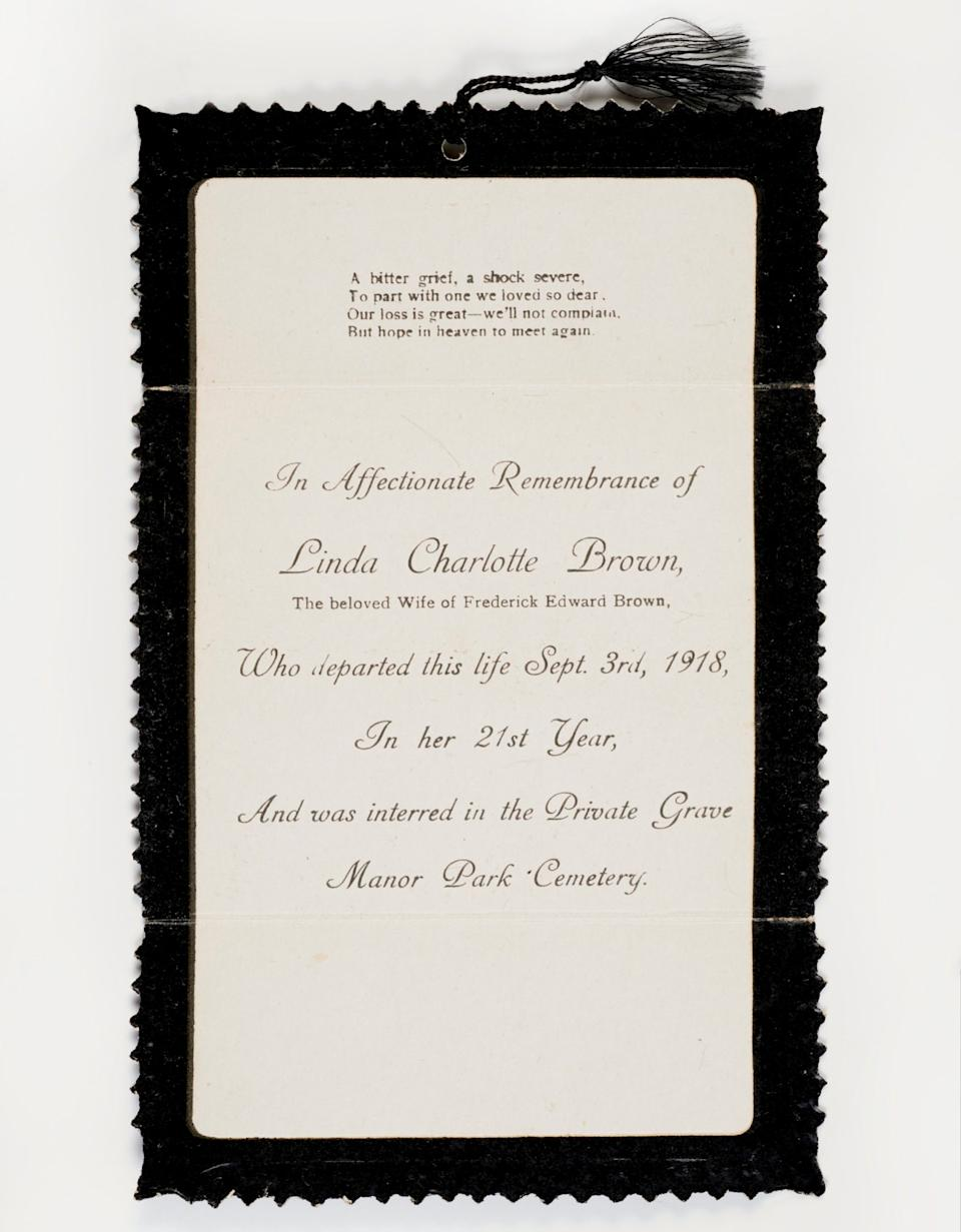 Mourning card - Museum of London