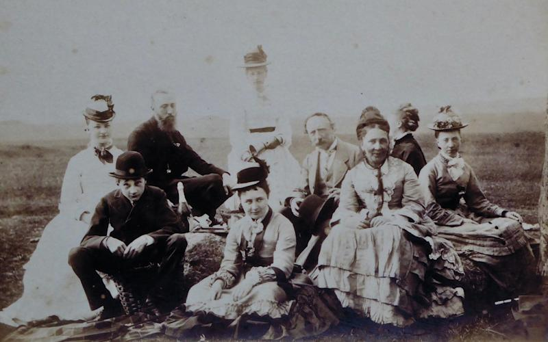 The Routh family dining at Stonehenge in 1875 - routh family/english heritage