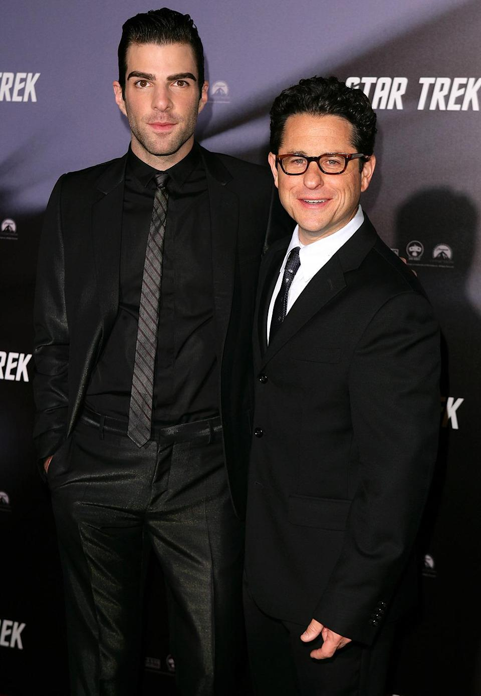 <p>Zachary Quinto with director J.J. Abrams in Sydney. Quinto arguably had the most difficult role in filling Leonard Nimoy's impossibly large shoes as Spock. <i>(Photo: Don Arnold/WireImage)</i></p>
