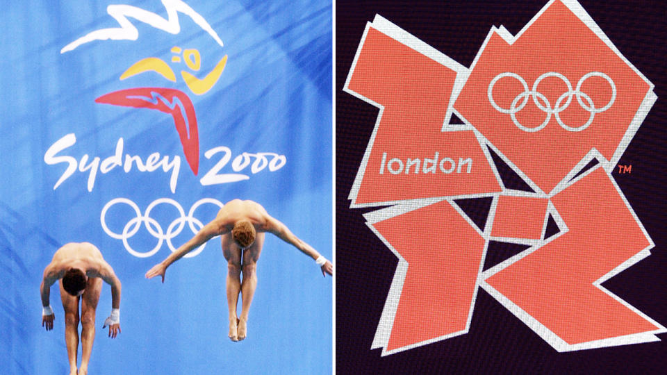 The official logos for the Sydney and London Olympics, pictured here in 2000 and 2012.