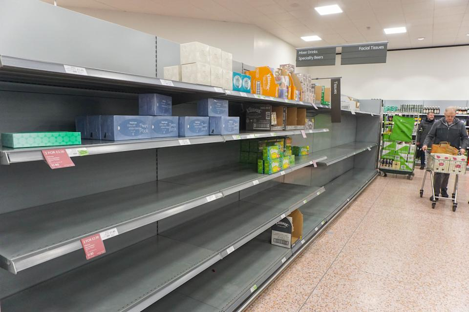 A general view of an empty shelve with toilet tissues is seen  in Waitrose, Sheffield, UK as shoppers due to panic buying of essential goods during the coronavirus outbreak , in Sheffield , on 8th of March 2020.  (Photo by Giannis Alexopoulos/NurPhoto via Getty Images)
