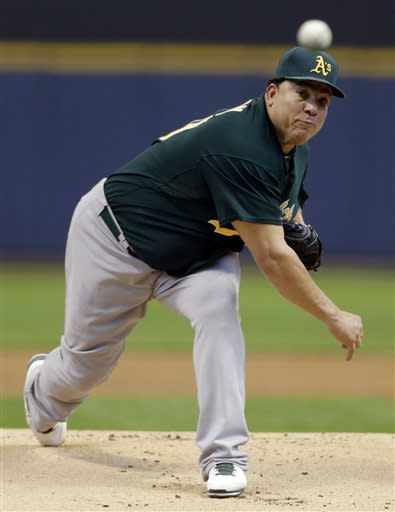Colon wins 4th straight, Oakland beats Brewers 6-1
