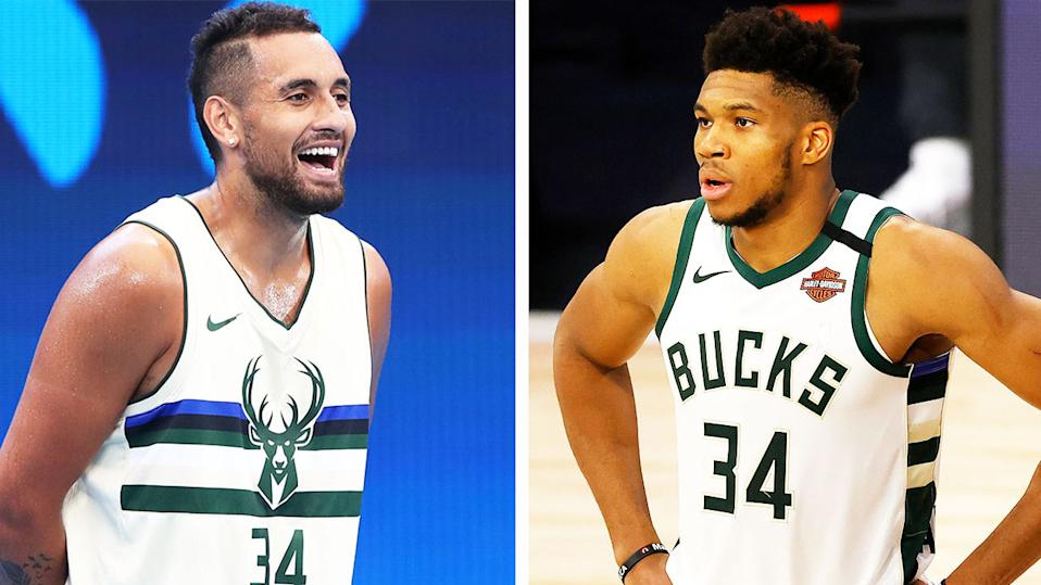 NBA MVP Giannis Antetokounmpo (pictured right) during a match and Aussie tennis star Nick Kyrgios (pictured left) during practice.