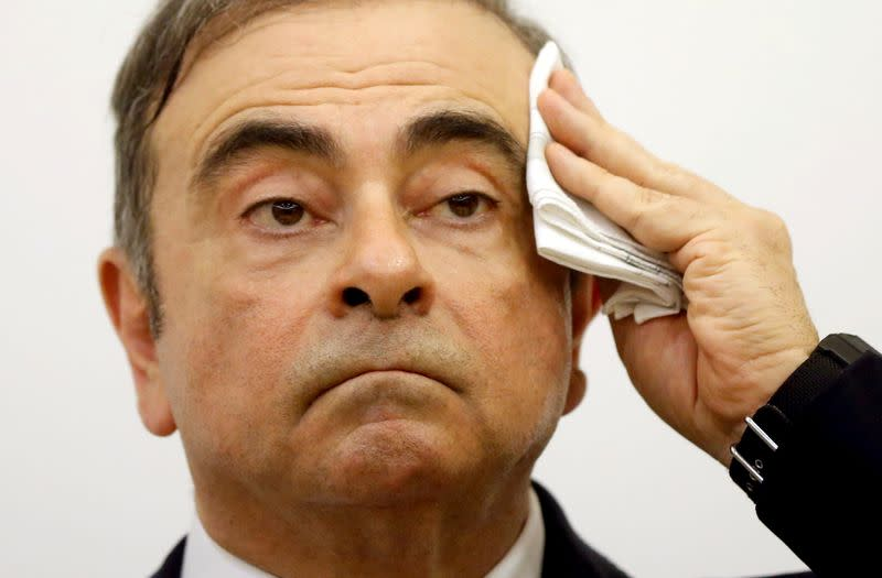 FILE PHOTO: Former Nissan chairman Carlos Ghosn's news conference in Beirut