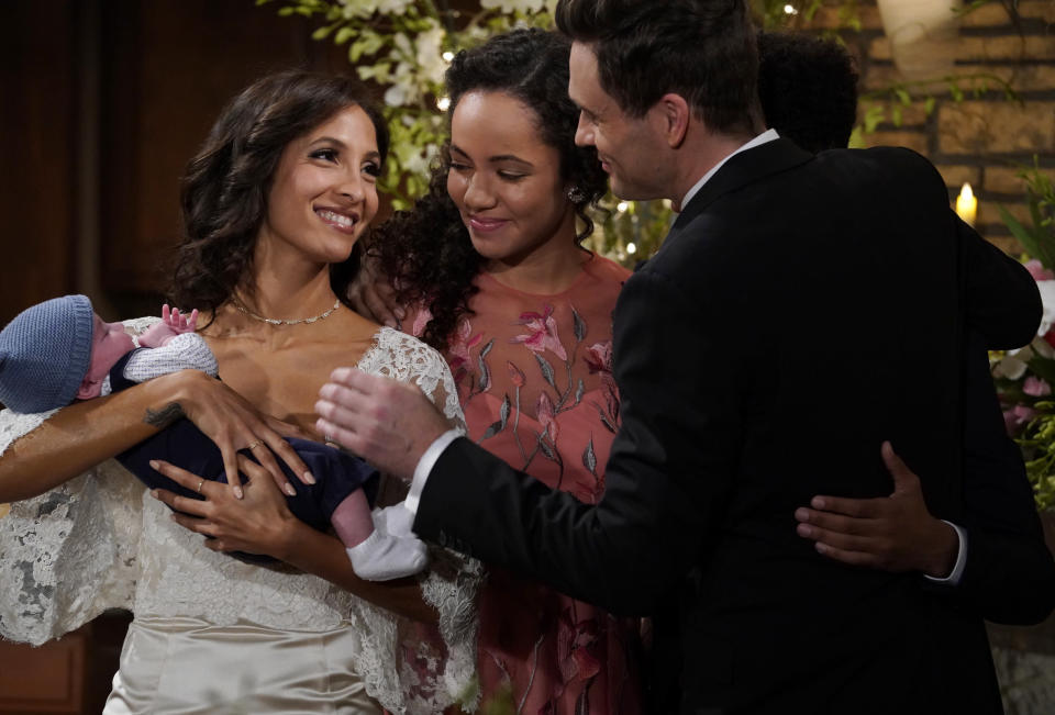 "This 2018 image released by CBS shows a scene from the daytime series ""The Young and the Restless."" The series is scheduled to go back into production next week after halting due to the coronavirus epidemic. (Cliff Lipson/CBS via AP)"