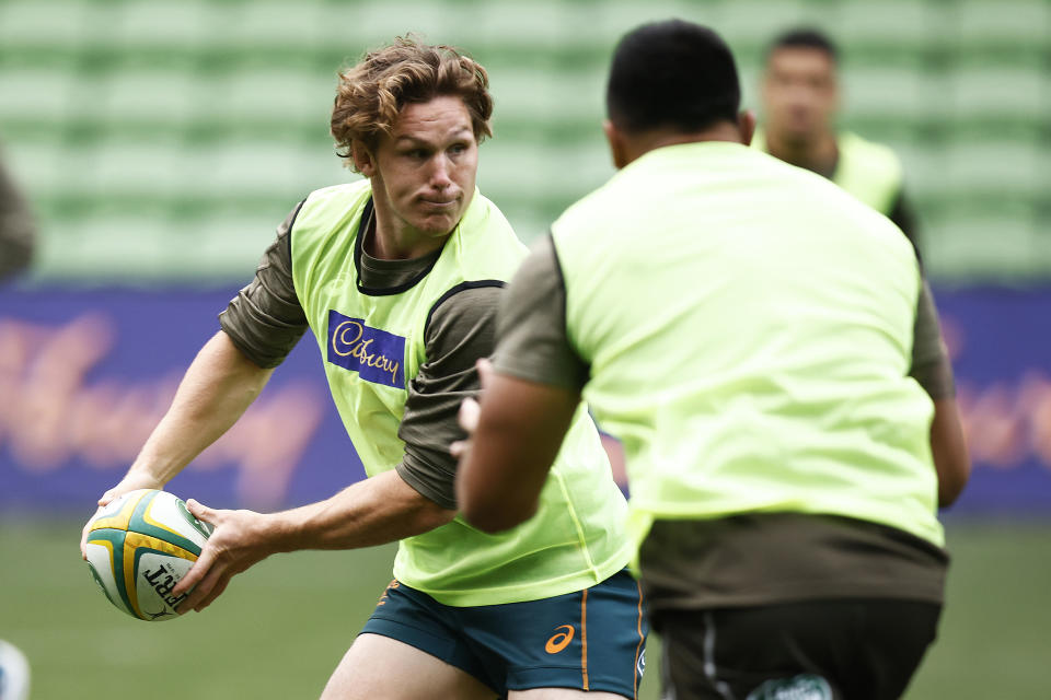 Seen here, Wallabies captain Michael Hooper trains ahead of his side's second Test against France.