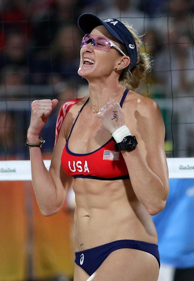 "<p>The Rio Games marked the first ever Olympic <a href=""http://sports.yahoo.com/news/walsh-jennings-ross-fall-short-of-olympic-gold-with-loss-to-brazil-040409557.html"" data-ylk=""slk:beach volleyball loss;outcm:mb_qualified_link;_E:mb_qualified_link"" class=""link rapid-noclick-resp newsroom-embed-article"">beach volleyball loss</a> for Kerri Walsh Jennings, 38, ending her 26-match winning streak and preventing her from earning a fourth straight gold medal. Fortunately, Walsh Jennings and partner April Ross won their bronze medal match. (Photo by Jamie Squire/Getty Images)</p>"
