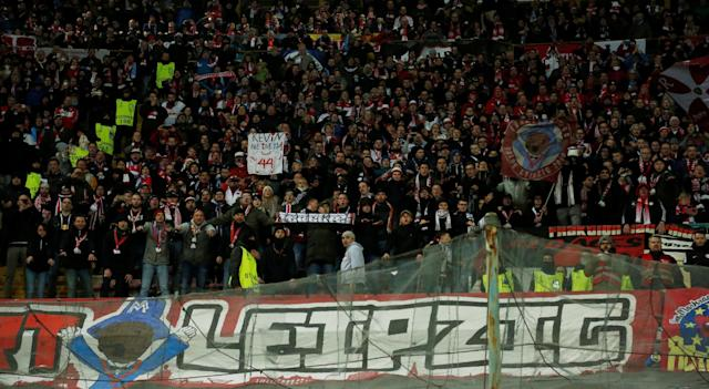 Soccer Football - Europa League Round of 32 First Leg - Napoli vs RB Leipzig - Stadio San Paolo, Naples, Italy - February 15, 2018 RB Leipzig fans after the match REUTERS/Ciro De Luca