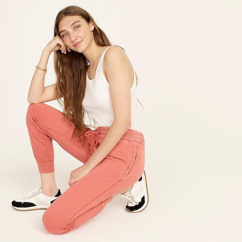 """<br><br><strong>J. Crew</strong> Magic Rinse™ jogger pant, $, available at <a href=""""https://go.skimresources.com/?id=30283X879131&url=https%3A%2F%2Fwww.jcrew.com%2Fp%2Fwomens%2Fcategories%2Fclothing%2Fsweatshirts-and-sweatpants%2Fmatching-sets%2Fmagic-rinse-jogger-pant%2FAY072%3Fdisplay%3Dstandard%26fit%3DClassic%26color_name%3Dwarm-taupe%26colorProductCode%3DAY072"""" rel=""""nofollow noopener"""" target=""""_blank"""" data-ylk=""""slk:J. Crew"""" class=""""link rapid-noclick-resp"""">J. Crew</a>"""