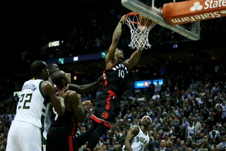 DeMar DeRozan led Toronto making 12-of-24 from the field, including a dunk with 48 seconds to play against Milwaukee in Game Six of the Eastern Conference Quarterfinals