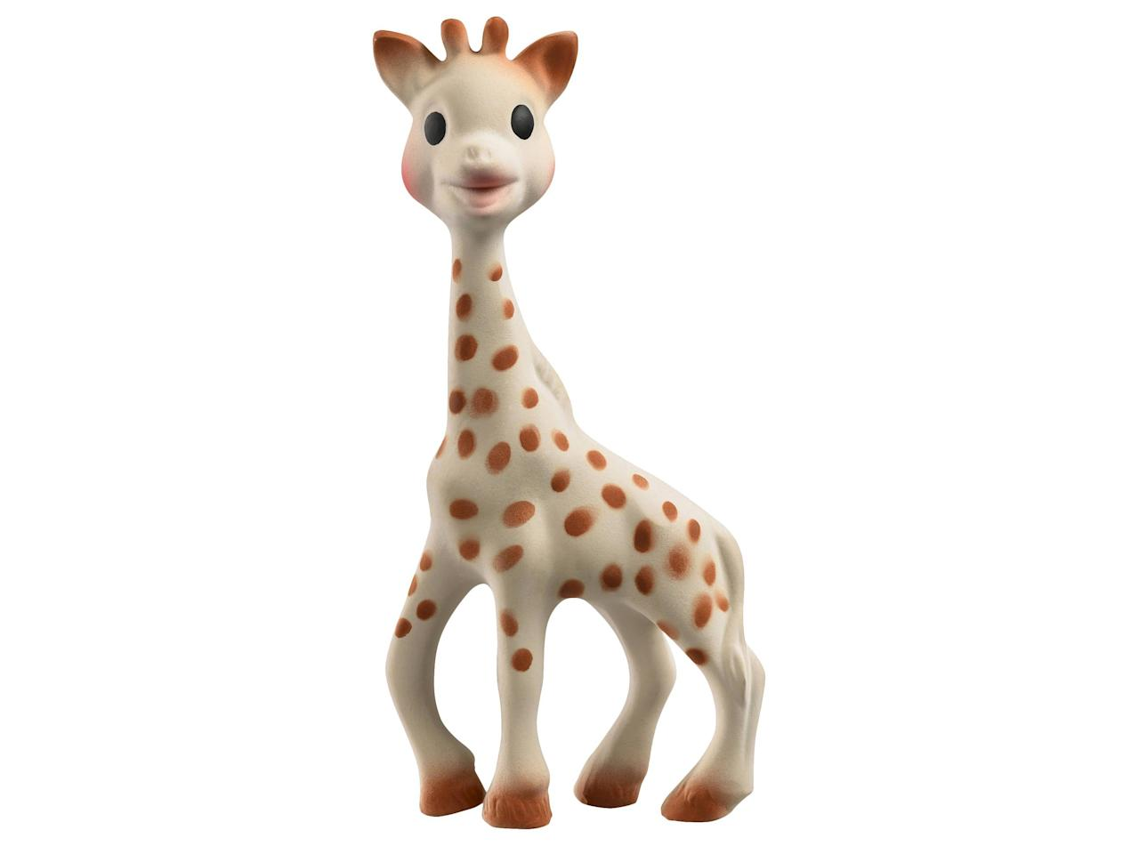 """<p>""""You've probably heard of Sophie the Giraffe in some form or another. This toy is SO popular! I don't know why babies love it so much, but they do.""""</p><p>Buy it <a rel=""""nofollow"""" href=""""https://www.target.com/p/sophie-la-girafe-teether/-/A-15286048"""">here</a> for $25.</p>"""