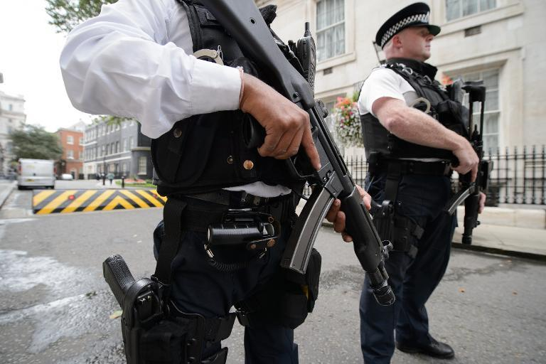 Armed police officers stand guard outside Downing Street in central London on August 29, 2014