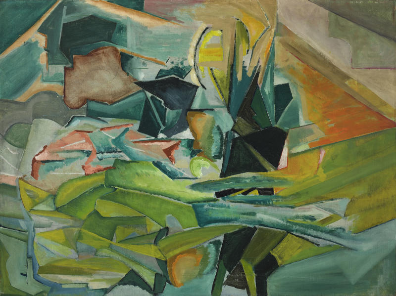 "This photo copy of an oil on canvas painting ""Abstraction-Landscape,"" by artist Charles Duncan, date unknown, is provided by Crystal Bridges Museum of American Art in Bentonville, Ark. The work is part of the Fisk Collection in which the museum shares a 50 percent stake with Fisk University in Nashville, Tenn. (AP Photo/Crystal Bridges Museum of American Art Fisk Collection, Charles Duncan)"