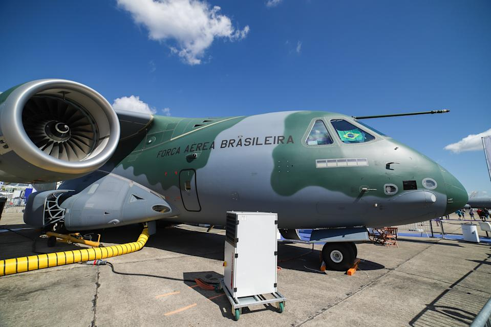 Brazilian Air Force Embraer KC-390 renamed after Boeing and Embraer deal as C-390 Millennium, the made in Brazil medium sized transport aircraft as seen on 53rd Paris Air Show Le Bourget in France on June 21, 2019. It is made by Brazilian aerospace manufacturer Embraer Defense and Security with its first flight on February 3, 2019. The military multipurpose airplane for cargo, aerialrefueling and troops can carry 26 tonnes in its fuselage and the 2x IAE V2500 jet engines. The aircraft registration is PT-ZNX and belongs to Força Aérea Brasileira fleet. Brazil and Portuguese Air Force of Portugal will be the first operators with orders, to replace the C-130. (Photo by Nicolas Economou/NurPhoto via Getty Images)