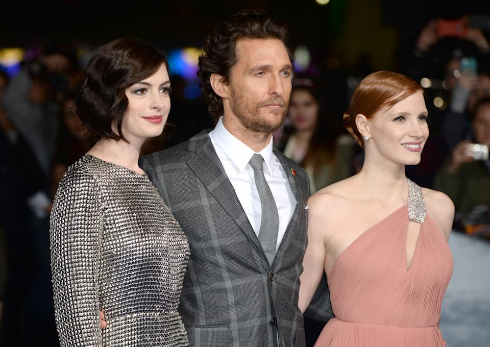 Anne Hathaway, Matthew McConaughey and Jessica Chastain arriving at the European Premiere of Interstellar held at the Odeon cinema in Leicester Square, London