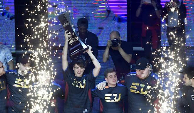 Team eUnited stands center stage after defeating 100 Thieves to win the Call of Duty World League Championship 2019 at Pauley Pavilion on August 16, 2019 in Los Angeles, California. Photo: AFP