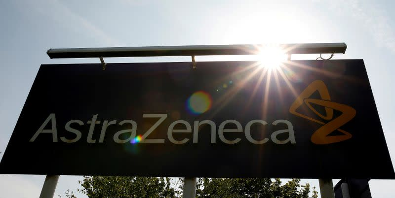 FILE PHOTO: A sign at an AstraZeneca site in Macclesfield