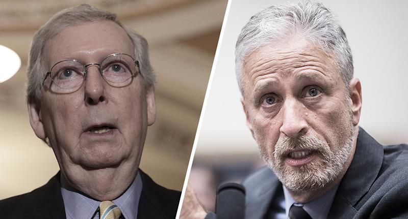 "U.S. Senate Majority Leader Mitch McConnell and former ""Daily Show"" host Jon Stewart. (Photos: Alex Wong/Getty Images, Zach Gibson/Getty Images)"
