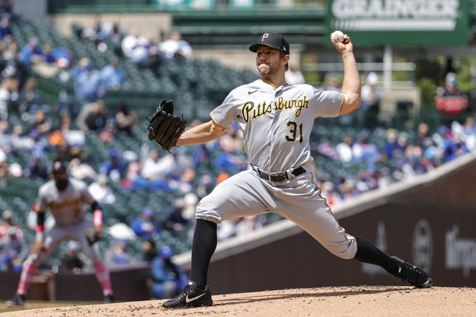 Pittsburgh Pirates starting pitcher Tyler Anderson (31) delivers against the Chicago Cubs during the first inning of a baseball game, Sunday, May 9, 2021, in Chicago. (AP Photo/Kamil Krzaczynski)