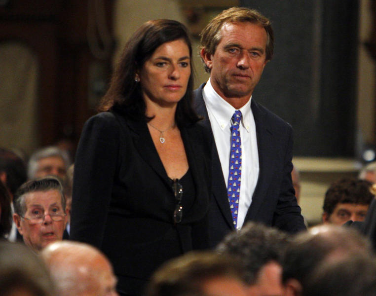 FILE - In this Aug. 29, 2009 file photo, Robert F. Kennedy Jr. and his wife Mary arrive during funeral services for U.S. Senator Edward Kennedy at the Basilica of Our Lady of Perpetual Help in Boston. An attorney on Wednesday, May 16, 2012 said Mary Kennedy has been found dead on Robert F. Kennedy Jr.'s property in Bedford, N.Y. (AP Photo/Brian Snyder, Pool, File)