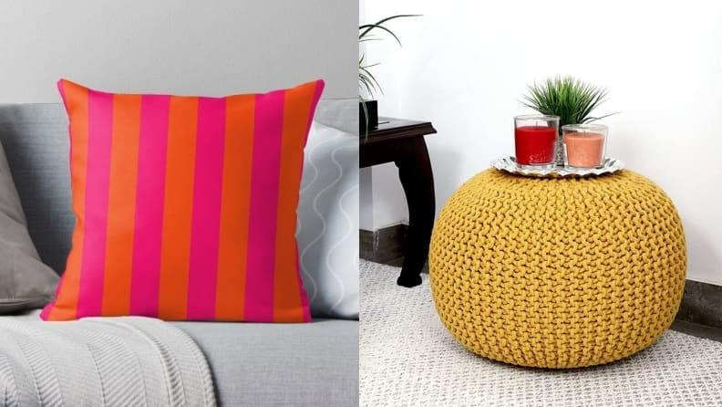 Bright accents are a low-commitment way to invigorate tired decor.