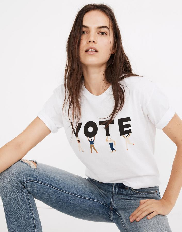 """It's no wonder why this Madewell T-shirt's actually a bestseller: It's adorable, and 100% of its purchase price goes to the <a href=""""https://www.aclu.org/"""" rel=""""nofollow noopener"""" target=""""_blank"""" data-ylk=""""slk:American Civil Liberties Union"""" class=""""link rapid-noclick-resp"""">American Civil Liberties Union</a>, which is focused on protecting rights promised in the Constitution, including the right to vote. On top of the proceeds from this tee, Madewell says it will <a href=""""https://fave.co/340yoTU"""" rel=""""nofollow noopener"""" target=""""_blank"""" data-ylk=""""slk:make a $750,000 donation"""" class=""""link rapid-noclick-resp"""">make a $750,000 donation</a> to the ACLU. <br><br><a href=""""https://fave.co/340yoTU"""" rel=""""nofollow noopener"""" target=""""_blank"""" data-ylk=""""slk:Find it for $40 at Madewell"""" class=""""link rapid-noclick-resp"""">Find it for $40 at Madewell</a>."""