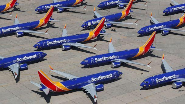 PHOTO: Grounded Southwest Airlines Boeing 737 MAX 8 aircraft are shown parked at Victorville Airport in Victorville, Calif., March 26, 2019. (Mike Blake/Reuters, FILE)