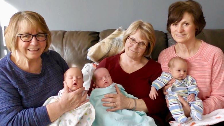 'It takes a village': 3 P.E.I. grandmothers help exhausted mom care for triplets